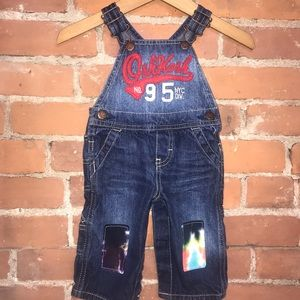 Overalls with tye dye knee patches one of a kind
